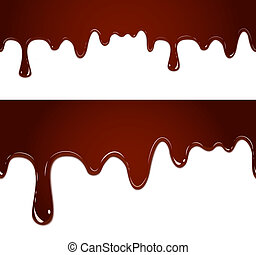 Flowing melted chocolate - vector seamless flowing melted...