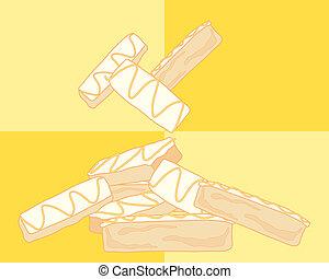 lemon cake slice - an illustration of a stack of lemon cake...