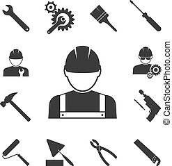 construction worker icons: hammer, pliers, saws and drill