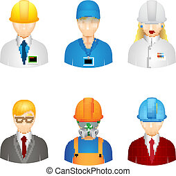 Vector 3d workers icons - 3d vector workers icons: builder,...