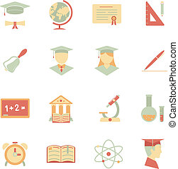 Flat Internet education icons - Vector Internet education...