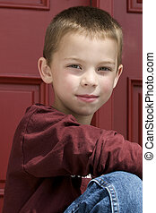 Cute young blond boy - six year old cute blond boy with...