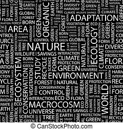 NATURE. Seamless pattern. Word cloud illustration.