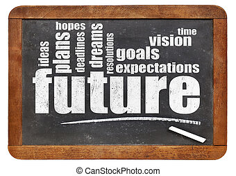 future, dreams, goals, and hopes word cloud on a vintage...