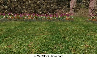 color wildflower in garden,stone pillars,3d landscape -...