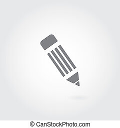 pencil symbol on gray background