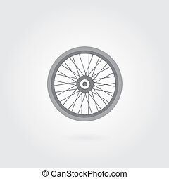 bicycle wheel symbol on gray background