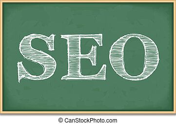 SEO - The word SEO on blackboard, vector eps10 illustration