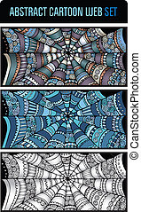 Abstract cartoon spider web background set - Abstract...