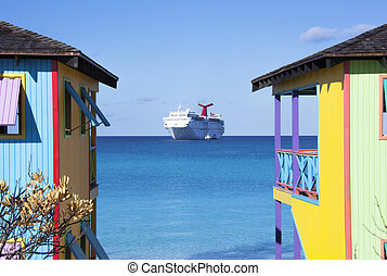 Colorful Cruise - Colorful Bahamian houses with a cruise...