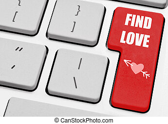 Online dating - Find love labeled computer enter key with...