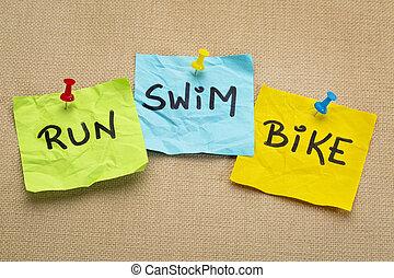 Corra, bicicleta, Nade, -, triatlón, concepto