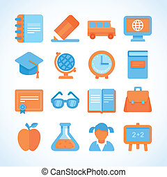 Flat vector icon set of education symbols, university and...