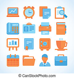 Flat vector icon set office and business symbols, finance...