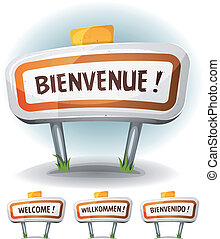 Welcome Town Or City Sign - Illustration of a cartoon comic...