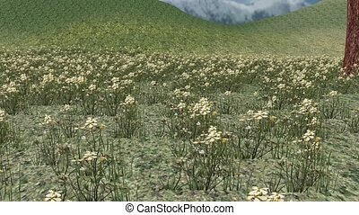 white wildflower in wind,distant mountains,3d landscape.