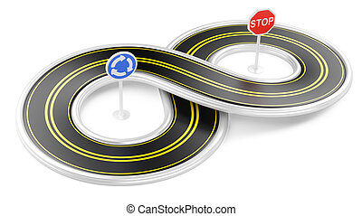 Road in the shape of infinity 3d illustration isolated on a...