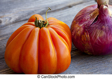 Beefsteak Tomato and red Onion - One Beefsteak Tomato and a...