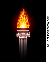 Column with fire - Ancient column with fire blazing in...