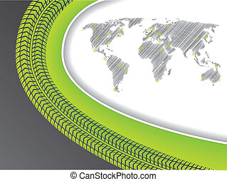 Business brochure with world map in green with tire tread -...