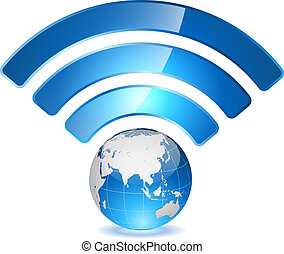 Wireless access point to global network concept. Globe with...