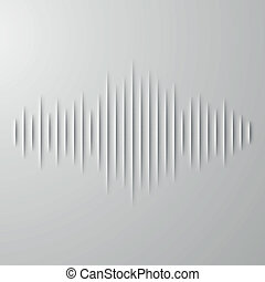 Paper sound waveform with shadow - Paper cut sound waveform...