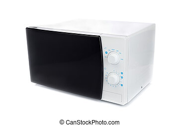 New microwave oven with analog control. Isolate on white
