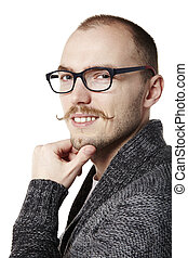 Friendly man with mustache - Studio shot of friendly young...
