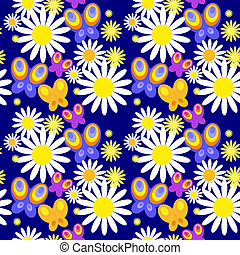 Seamless pattern with butterflies on a blue background
