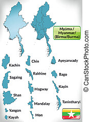 Map of myanmar with borders in blue