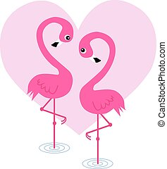 two flamingo birds in love