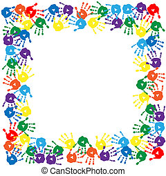 Frame of colorful hand prints - Frame of a colorful hand...