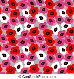 Seamless pattern with poppies on a gray background