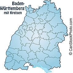 Map of Baden-Wuerttemberg with borders in blue