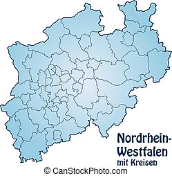Map of North Rhine-Westphalia with borders in blue
