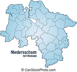 Map of Lower Saxony with borders in blue