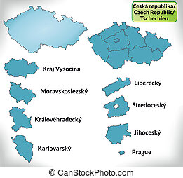 Map of Czech Republic with borders in blue