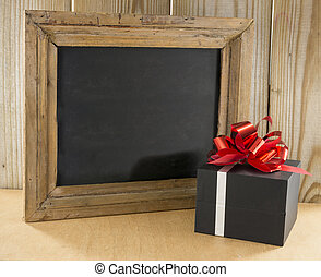 blackboard wth present - black wooden blackboard with...