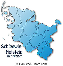 Map of Schleswig-Holstein with borders in blue