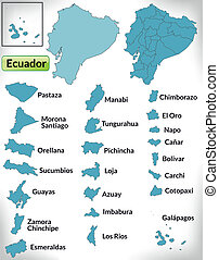 Map of ecuador with borders in blue