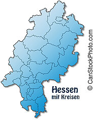 Map of Hesse with borders in blue