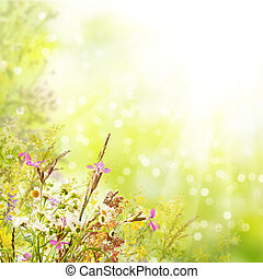 Floral easter background - Floral spring easter holiday...