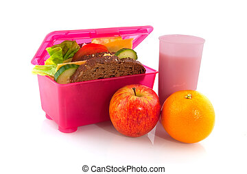 Lunchbox with healthy meal - Pink lunchbox with healthy...