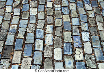 Cobblestone street - Blue and grey cobblestone streets in...