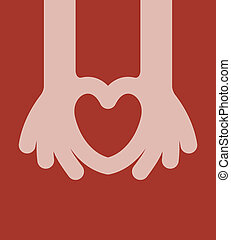 Hand Heart, vector illustration. eps8 - Hand Heart, vector...