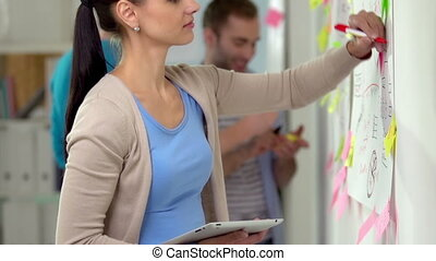 Brainstorming - Businesswoman scheming on whiteboard using...
