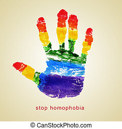 stop homophobia - text stop homophobia and a handprint with...