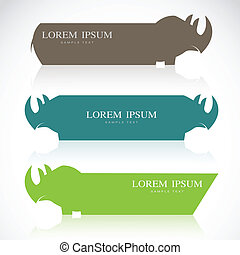 Vector image of an rhino banners on white background