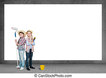 children with paint rollers - image of a children stand near...