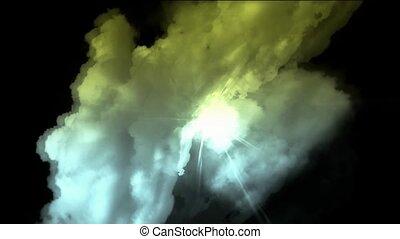 flying in cloud & lightning.